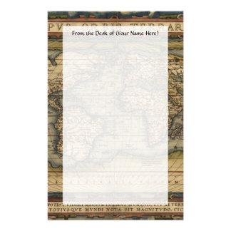 Diseño histórico del atlas del mapa del mundo del personalized stationery