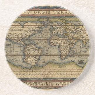 Diseño histórico del atlas del mapa del mundo del  posavasos cerveza