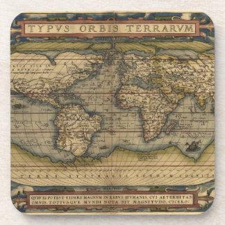 Diseño histórico del atlas del mapa del mundo del  posavasos de bebidas