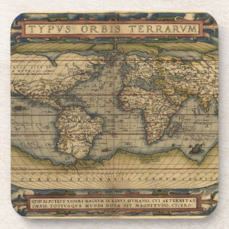 Diseño histórico del atlas del mapa del mundo del  posavasos de bebida