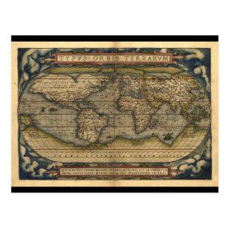 Diseño histórico del atlas del mapa del mundo del postal
