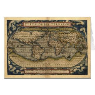 Diseño histórico del atlas del mapa del mundo del tarjeton