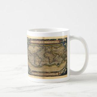 Diseño histórico del atlas del mapa del mundo del tazas