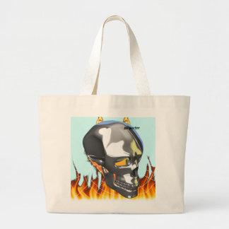 Diseño humano 1 del cráneo del cromo con el fuego  bolsas de mano