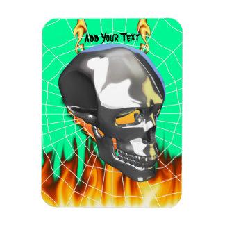 Diseño humano 1 del cráneo del cromo con el fuego iman flexible