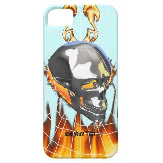 Diseño humano 1 del cráneo del cromo con el fuego iPhone 5 funda