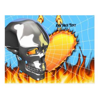 Diseño humano 1 del cráneo del cromo con el fuego postal