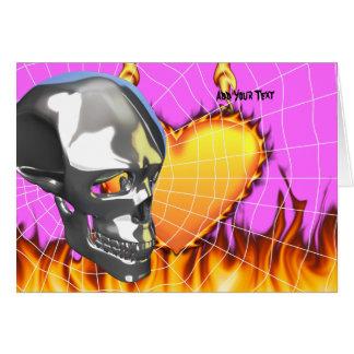 Diseño humano 1 del cráneo del cromo con el fuego tarjeta de felicitación