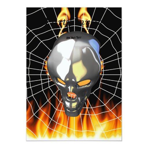 Diseño humano 2 del cráneo del cromo con el fuego comunicados