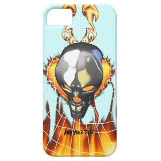 Diseño humano 2 del cráneo del cromo con el fuego iPhone 5 funda