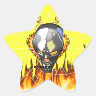Diseño humano 2 del cráneo del cromo con el fuego pegatina en forma de estrella