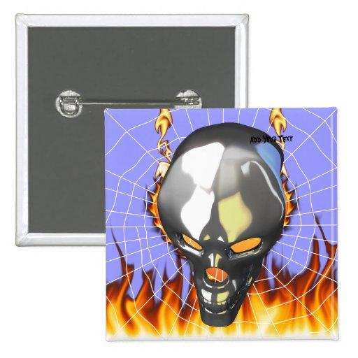 Diseño humano 2 del cráneo del cromo con el fuego  pin