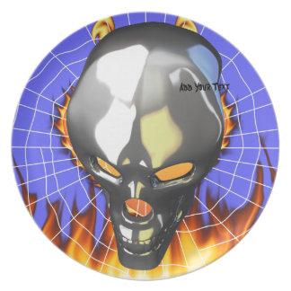 Diseño humano 2 del cráneo del cromo con el fuego platos para fiestas