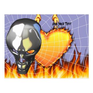 Diseño humano 2 del cráneo del cromo con el fuego postales