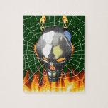 Diseño humano 2 del cráneo del cromo con el fuego  puzzles