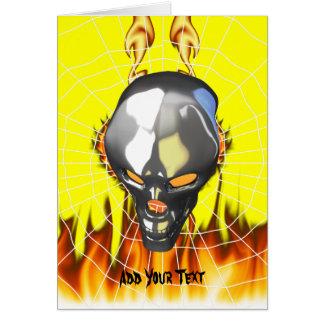Diseño humano 2 del cráneo del cromo con el fuego tarjeta de felicitación