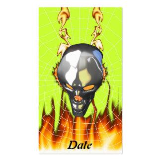 Diseño humano 2 del cráneo del cromo con el fuego tarjetas de visita