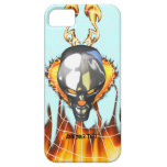 Diseño humano 3 del cráneo del cromo con el fuego  iPhone 5 protector
