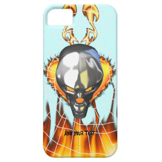Diseño humano 3 del cráneo del cromo con el fuego funda para iPhone 5 barely there