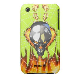 Diseño humano 3 del cráneo del cromo con el fuego iPhone 3 Case-Mate fundas