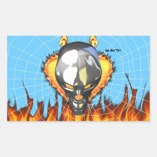 Diseño humano 3 del cráneo del cromo con el fuego pegatina rectangular