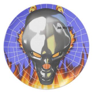 Diseño humano 3 del cráneo del cromo con el fuego plato