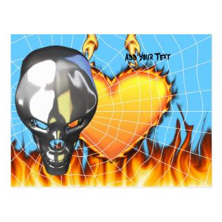 Diseño humano 3 del cráneo del cromo con el fuego tarjetas postales