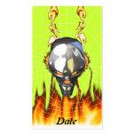 Diseño humano 3 del cráneo del cromo con el fuego  plantilla de tarjeta de visita