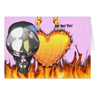 Diseño humano 3 del cráneo del cromo con el fuego tarjeta de felicitación