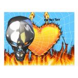 Diseño humano 3 del cráneo del cromo con el fuego postal