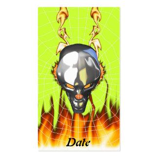 Diseño humano 3 del cráneo del cromo con el fuego tarjetas de visita