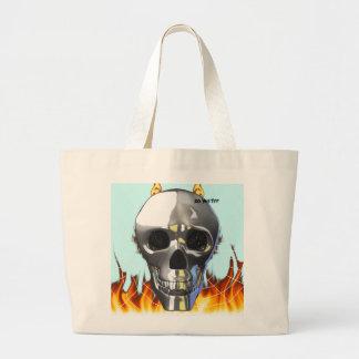 Diseño humano 4 del cráneo del cromo con el fuego  bolsas lienzo