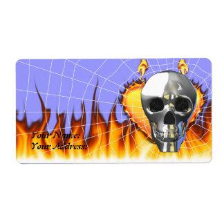 Diseño humano 4 del cráneo del cromo con el fuego etiquetas de envío