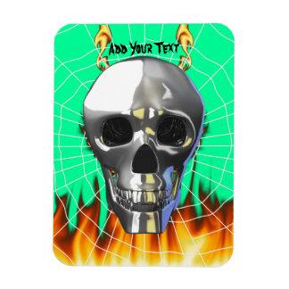Diseño humano 4 del cráneo del cromo con el fuego imán de vinilo