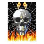 Diseño humano 4 del cráneo del cromo con el fuego invitación 12,7 x 17,8 cm