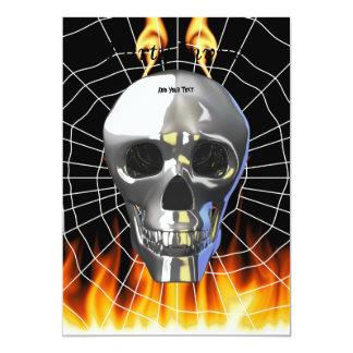 """Diseño humano 4 del cráneo del cromo con el fuego invitación 5"""" x 7"""""""