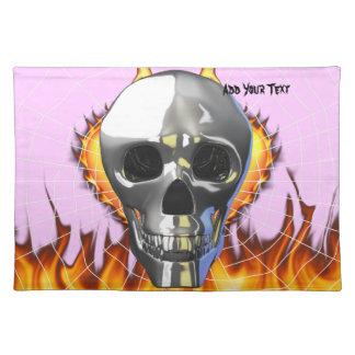 Diseño humano 4 del cráneo del cromo con el fuego mantel individual