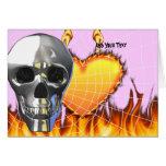 Diseño humano 4 del cráneo del cromo con el fuego  felicitación