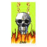 Diseño humano 4 del cráneo del cromo con el fuego tarjetas de visita