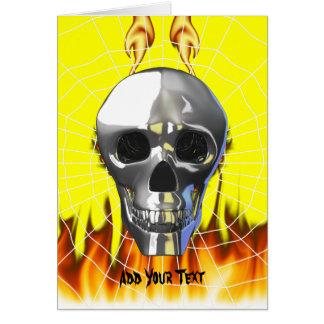 Diseño humano 4 del cráneo del cromo con el fuego tarjeta de felicitación