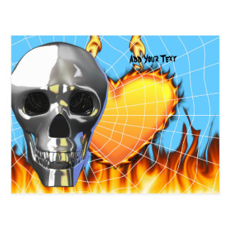 Diseño humano 4 del cráneo del cromo con el fuego tarjetas postales