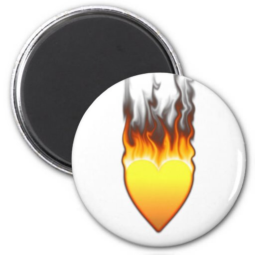 Diseño II de la forma del corazón de la llama Imán Redondo 5 Cm