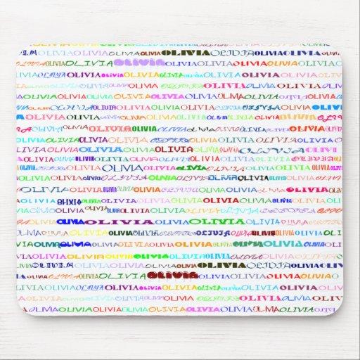 Diseño II Mousepad del texto de Olivia Alfombrillas De Ratón