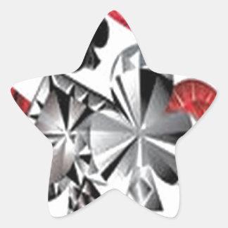 Diseño impresionante de los símbolos del póker pegatina en forma de estrella