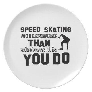 Diseño impresionante del patinaje de velocidad platos de comidas