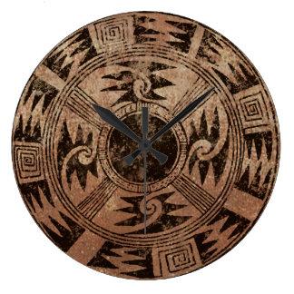 Diseño indio americano de la cesta reloj redondo grande