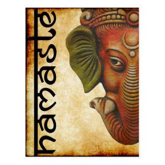 Diseño indio del namaste del ganesha de dios de la postal