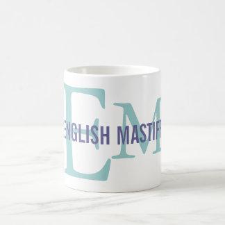 Diseño inglés del monograma de la raza del mastín taza clásica