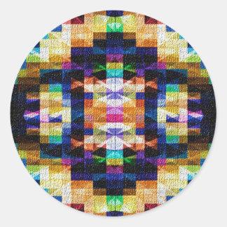 Diseño inspirado - diamantes 9 del arco iris pegatina redonda