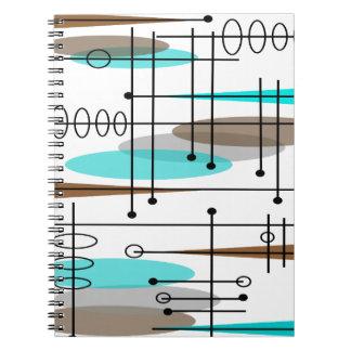 Diseño inspirado era atómica 13 de los mediados de libreta espiral